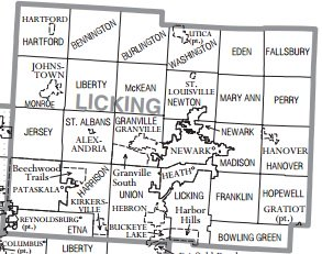 A map of Licking County, Ohio.