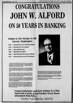 Newspaper article congratulating Alford on 50 years at Park National Bank.