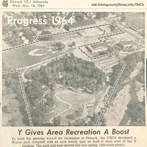 Aerial photo showing the YMCA grounds in 1964.