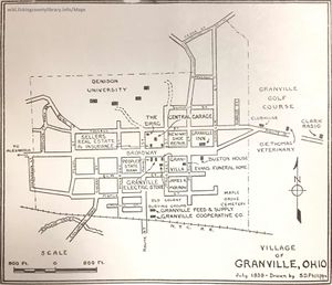 A map of Granville in 1939.