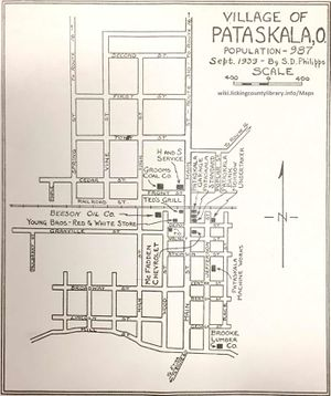 A map of Pataskala in 1939.