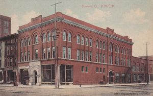 A post card showing the YMCA building in downtown Newark, Ohio.