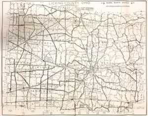 A map of Licking County in 1939.