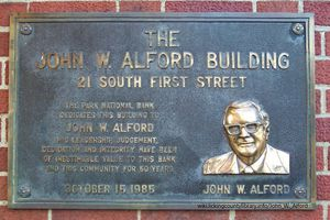 Marker dedicating the building at 21 South First Street in Alford's honor.
