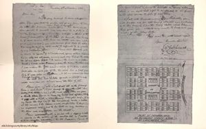 A letter and map of Newark, Ohio in 1803, written by William C. Schenck.