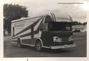 A photo of the Licking County Library's Bookmobile in the 1960's